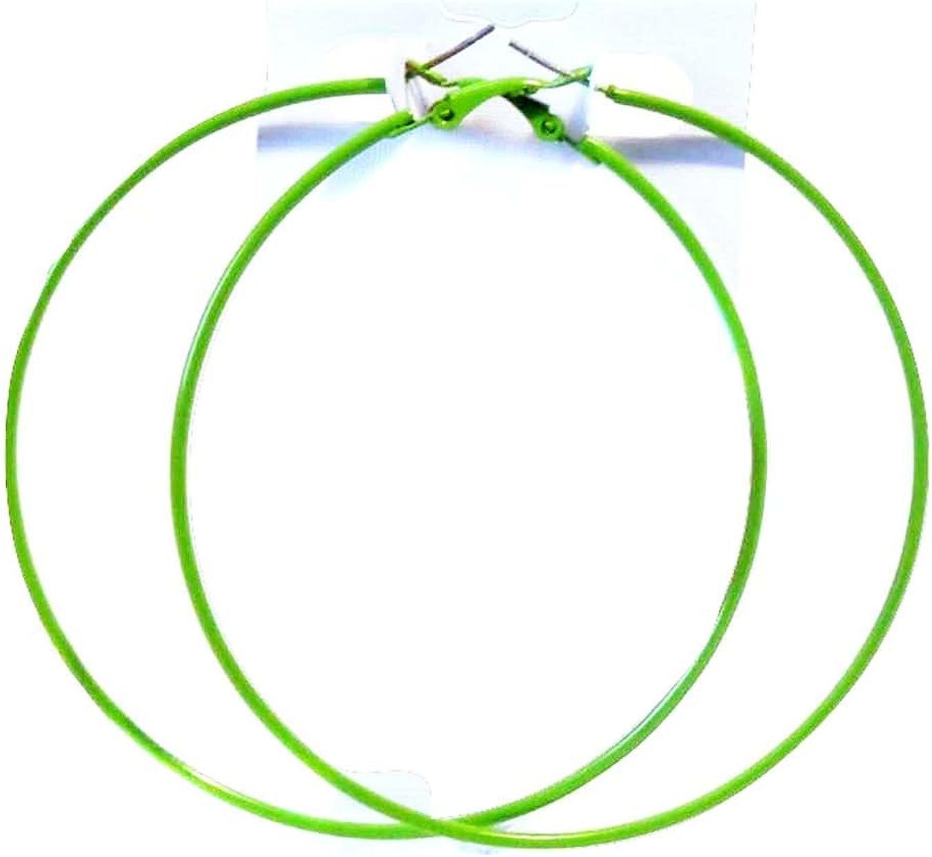 Green hoop earrings 1.5 inch Hoops Green Earrings Thin Hoop Earrings