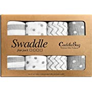 Muslin Swaddle Blankets by CuddleBug - Spots n' Stripes- 4 Pack Baby Blanket for Newborns - Swaddle Blanket, Swaddle Wrap, Muslin Swaddle and Receiving Blankets