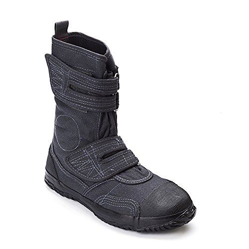 Steel Sneaker Calf Toe (fugu Black Japanese Vegan Boots Most Comfortable Boots - Great Hiking Work and Fashion Boots - Sturdy Stylish Lightweight Canvas Velcro Mid-Calf Boots With Rubber Sole - Grey, USW 7-7.5/JP 23.5)
