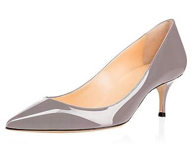 ELASHE - Escarpins Femme - 6.5 cm Kitten-Heel Chaussures - Bout Pointu  Fermé - 1ba28fedf2b7