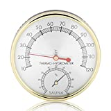 Sauna Room Thermometer, 2 In 1 Sauna Thermometer & Hygrometer Metal dial Sauna tools for Houses Offices Workshops Schools Markets Warehouses, Beautiful and Practical