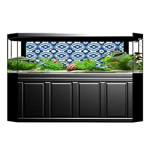 Fish Tank Poster Aquarium Background Backdrop PVC Adhesive Design with Regular Shaft Loom Uneven Twill Trendyative Motif Dark Blue White Sticker Wallpaper Fish Tank L29.5 x ()
