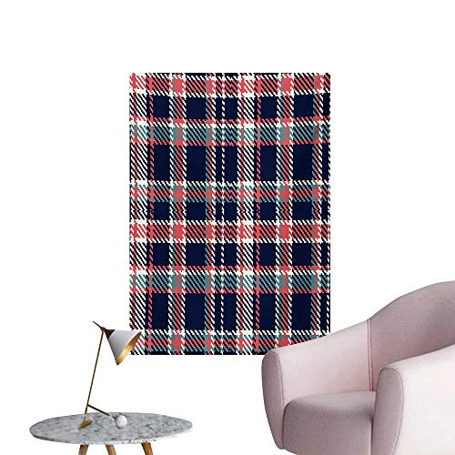 Anzhutwelve Checkered Wall Sticker Decals Scottish Retro Fashion Vintage Style Abstract Traditional DesignIndigo Slate Blue Coral W32 xL48 Cool Poster -
