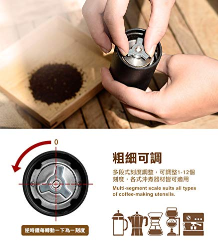 DRIVER Manual Coffee Bean Grinder, Whole Bean Mini 15g Wood Handy Size High Quality Juglans Nigra Stainless Steel Burr Mill Portable Travel for Espresso, French Press, Spice, Herb, Pepper Grinder
