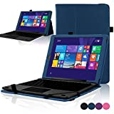 "ACdream RCA Cambio W101 Case, Protective Premium PU Leather Cover Case for RCA 10.1"" 2in1 Tablet 32GB Quad Core Windows 8.1/10.1 Tablet Model W101 (2015 Version), Dark Blue"