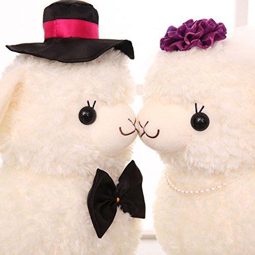 45cm Cute Couple Alpaca Groom & Bride Wedding Plush Toy Soft Stuffed Animal Doll Xmas Christmas Birthday Valentine Gift