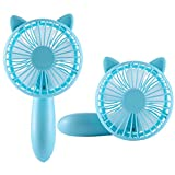 Niceshop Mini Handheld Personal Fan Built-in 1200mAh Rechargeable Battery with 3 Speed Adjustable Table USB Fans Portable Travel Cooler for Home Office Travel Camping Outdoor Activity (Squirrel-Blue)