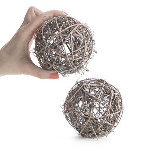 Package of 8 Frosted Sparkling Rattan Balls for Home Decor, Displaying and Designing by Factory Direct Craft