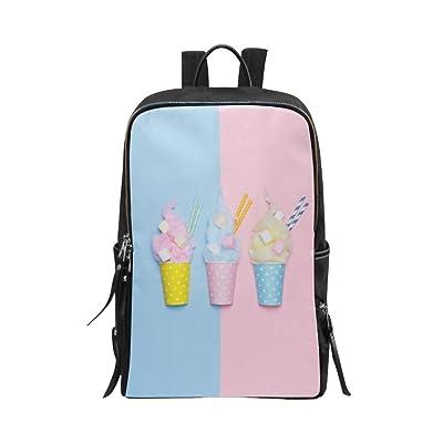 InterestPrint Unisex School Bag Casual Shoulders Backpack Chocolate Bar Ice Cream Food Travel Backpacks 15 Inch Laptop Bag for Women Men Boys Girls