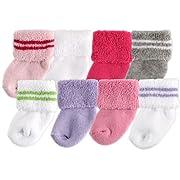 Luvable Friends Baby 8 Pack Newborn Socks, Pink, 0-6 Months
