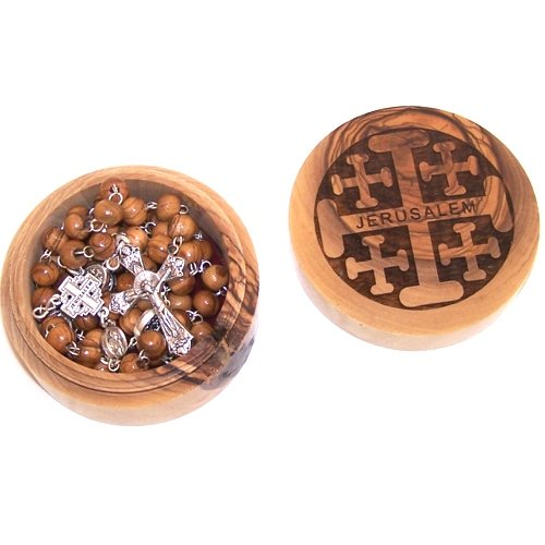 Jerusalem Cross Rosary with Jerusalem Cross box - Style II ( box : 7x3cm or 2... by Holy Land Market