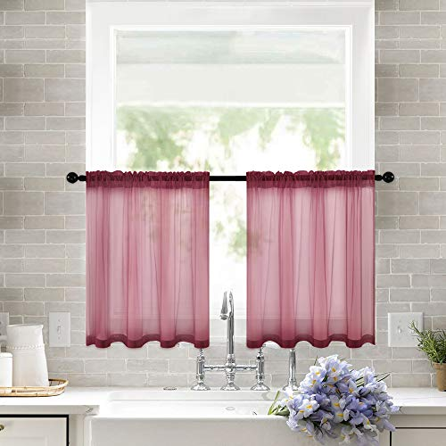 MIULEE 2 Panels Kitchen Tiers Half Window Sheer Curtains Rod Pocket Semitranslucent Voile Drapes for Kitchen Bathroom Small Windows 29 by 36 Inch Wine Red (Red Voile Panels)