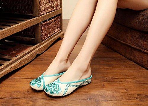 Lazutom - Zapatillas de estar por casa de Lona para mujer Verde