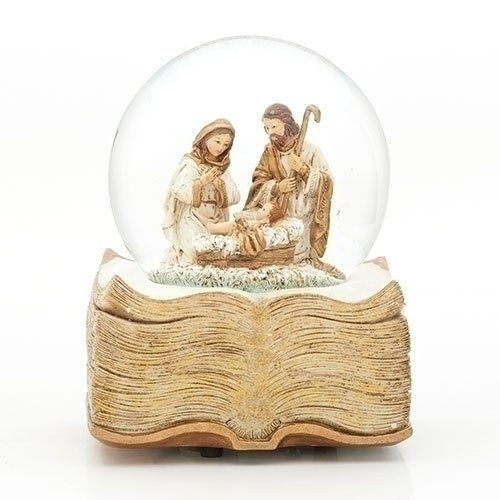 Guilded Goldtone Holy Family 100MM 6 Inch Musical Glitterdome Water Globe Plays O Holy Night