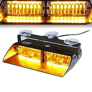 T Tocas 16 LED de alta intensidad LED aplicación de la ley de emergencia Balizamiento lámparas de advertencia de peligro luces estroboscópicas para el vehículo del carro del coche SUV interior del techo / Dash / parabrisas con ventosas (ámbar)