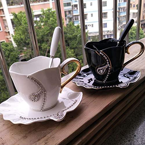 SZHAIYU Coffee Mug Diamonds Creative Gift Lovers Tea Cups Coffee Cup 3D Ceramic Mugs with Rhinestones Decoration Cups and Saucers(White)