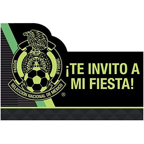 Amscan Selección Nacional de México Soccer Postcard Party Invitations, Multicolor 491854 ()