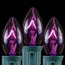 Novelty Lights 25 Pack C7 Twinkle Outdoor String Light Christmas Replacement Bulbs, Purple, C7/E12 Candelabra Base, 7 Watt