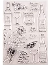 Welcome to Joyful Home 1pc Happy Birthday Celebrate Bottle Rubber Clear Stamp for Card Making Decoration and Scrapbooking