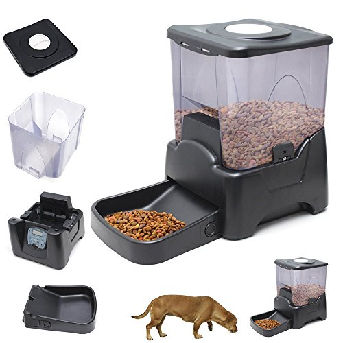 Dog Cat Automatic Programmable LED Display Food Feeder (Black)