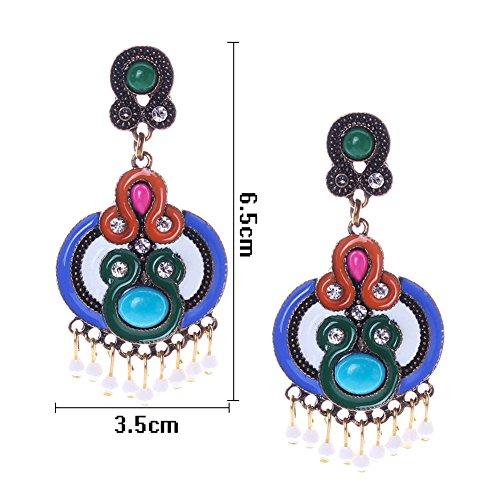 HeyGirl Black Friday Women Luxury Sector Tassel Crystal Waterdrop Earrings For Women Colorful Earrings ()