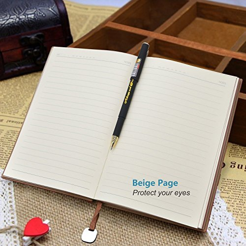 eBerry® Leather Notebook/Record Book/Lined Memo,Life&Success Planner,Classic Dark Coffee First Page,Pen Holder,Ribbon Bookmark,240 Lined Pages,6x8 Inches,0.5mm Gel Pen Included,Black(58-25) by izBuy (Image #2)
