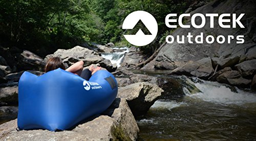 ECOTEK Outdoors Premium Inflatable Air Hammock Version 2.0 Lounge with Upgraded Fabric, Elastic Pockets, Aluminum Alloy Stakes, and Carry Bag (Charcoal Gray)