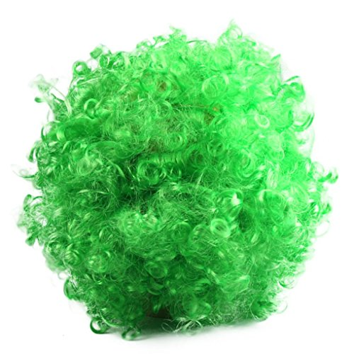 Vibola Hallowmas Afro Masquerade Hair Wig Masquerade Short Wig (green) (Corn Roll Hairstyle)