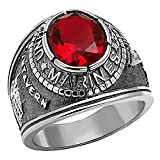 Marines: Mens 5.0ct Simulated Ruby USA Marines Military Signet Ring 316 Steel, 3062 sz 12.0