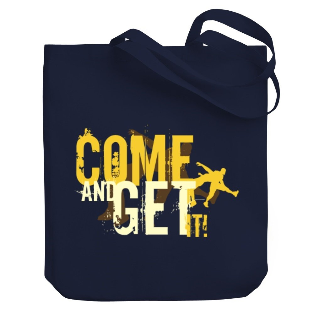 Teeburon COME AND GET IT Wrestling Canvas Tote Bag