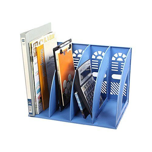 Whthteey 4 Compartment Desktop File Organizer Basket Plastic File Holders for Home Office School Blue by Whthteey (Image #1)