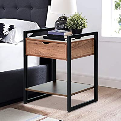 YOLENY Modern Design Nightstand, End Table with Drawer and Bottom Shelf,  Decoration in Living Room, Lounge, Stable Iron Frame