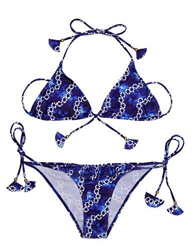 Ekouaer Women Sexy Pattern Floral Halter Bikinis Set,Blue,Small