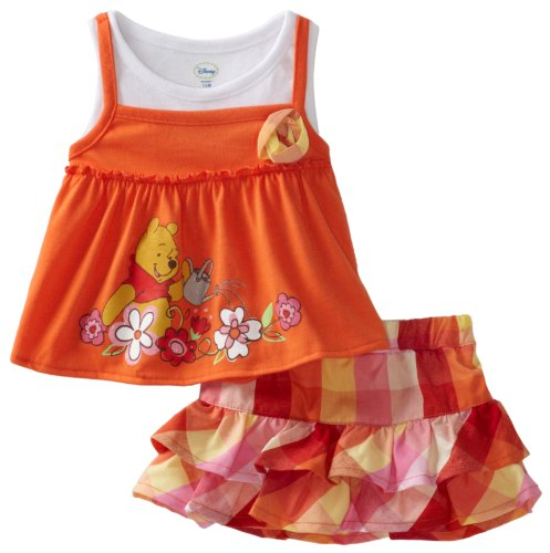 Disney Baby Girls' Winnie Plaid Skooter Skirt Set, Orange, 24 Months