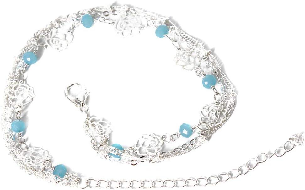 Garispace Multi-Layer-Perlen Fu/ßkettchen Boho einfache Blume Fu/ßkette Armband Sommer Rose Link Fu/ßkettchen Kleid Zubeh/ör
