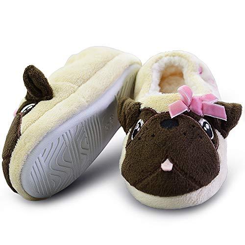 - LA PLAGE Toddler Outside Plush Comfortable Soft Fleece House Slippers 12-13 US Creamy Pug
