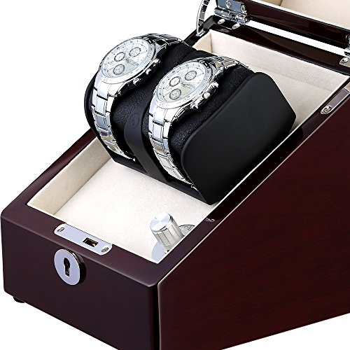 OLYMBROS Wooden Single Automatic Watch Winder Storage Box for 2 Watches with LED Light by Olymbros (Image #5)