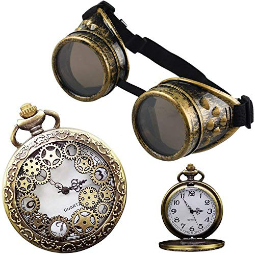 Steampunk Pocket Watch Locket Set Matching Goggles (Necklace Goggle Bundle) for $<!--$24.99-->