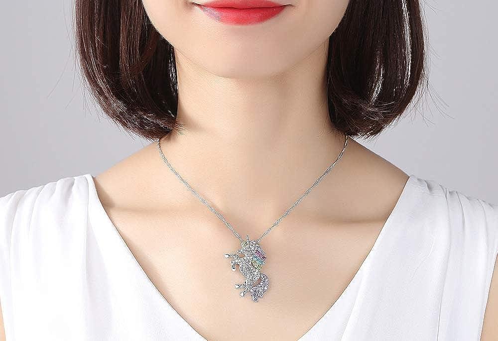 Bunt Einhorn Halskette Anh/änger Einhorn Strass Halskette Mode Accessoires Schmuck Geschenk f/ür M/ädchen und Kinder Eudola Einhorn Halskette