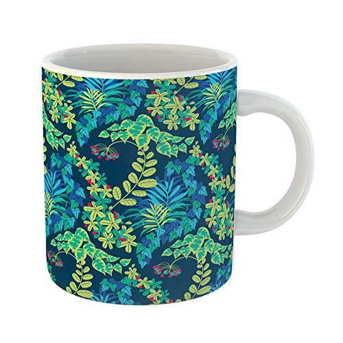 Aquamarine Brazil Blue (Emvency Coffee Tea Mug Gift 11 Ounces Funny Ceramic Abstract Colorful Green Blue Navy Jungle Foliage Pattern Aquamarine Gifts For Family Friends Coworkers Boss Mug)