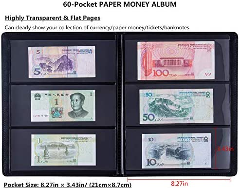 Currency Collections Pages for Bills Paper Money Banknotes 100 Pages w// Box