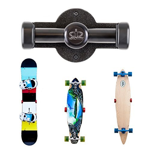 RoyalRacks Snowboard and Skateboard Wall Rack | The Gnar Bar SLIM | Board Rack Wall Mount | Home Deck Display Rack