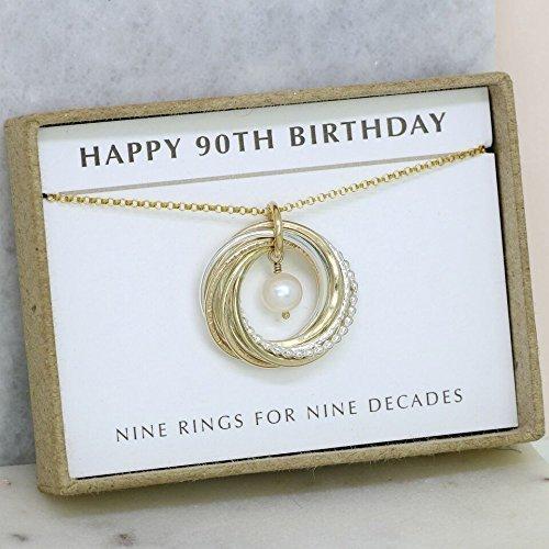 90th Birthday Gift Grandma 9th Anniversary Necklace For Her 9 Interlocking