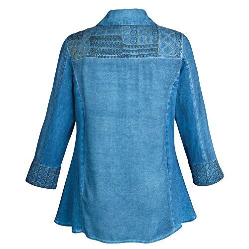CATALOG CLASSICS Women's Tunic Top - Chambray Denim Button Down Shirt - 2X