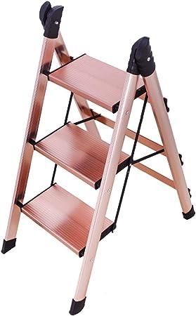 ELLENS Escalera Plegable de 3 escalones/Escalera Antideslizante de Aluminio/ Escalera de Mano doméstica multifunción/con Pedal Antideslizante/Escalera de Garaje para Cocina doméstica/fácil de almacen: Amazon.es: Hogar