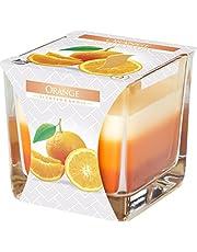 Świeca zapachowa w kwadratowym szkle o czasie palenia 32 godzin! (Zapach: pomarańczowy)
