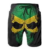 I Like Exercise Jamaica Skull Flag Men's Swim Trunks Printed Quick Dry Board Shorts X-Large
