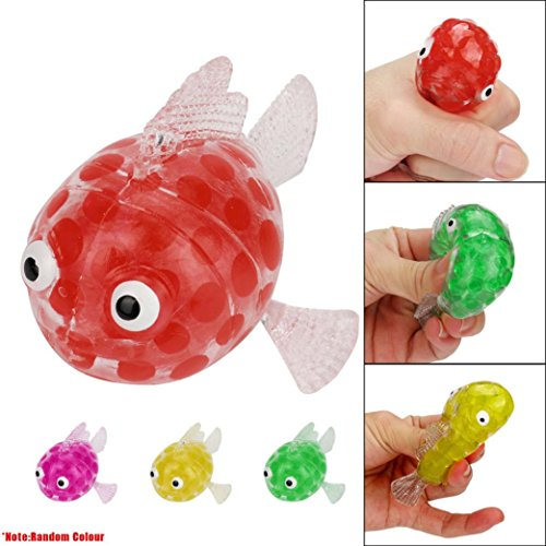 Wensltd Clearance! 6cm Cute Duck Bead Stress Ball Sticky Squeeze Toy Squeezing Stress Relief Toys (Fish-Color Random)
