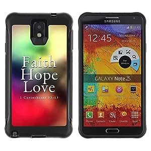 Fuerte Suave TPU GEL Caso Carcasa de Protección Funda para Samsung Note 3 / Business Style BIBLE Corinthians 13:13 - Faith Love Hope