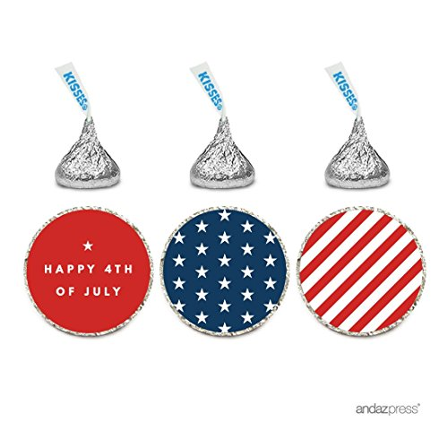 (Andaz Press Chocolate Drop Labels Trio, Fits Hershey's Kisses, 4th of July Stars and Stripes, 216-Pack, Fourth of July, Patriotic, President's Day, Superhero Kids 1st Birthday Party, Memorial Day)